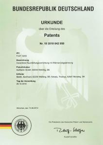 Patenturkunde Wärmetauscheranordnung